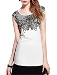MOONBASA® Women Romantic Butterfly Lace T Shirt - White