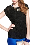 MOONBASA® Women Romantic 3D Flower Small T Shirt - Black