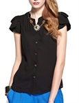 MOONBASA® Women Romantic 3D Flower Frills T Shirt - Black