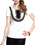 MOONBASA® Women Romantic 3D Palace Flower T Shirt - White