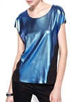 MOONBASA® Women Vogue Shine Soft T Shirt - Blue