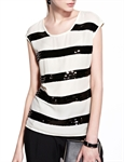 MOONBASA® Women Vogue Stripe Elegant T Shirt - White