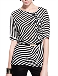 MOONBASA® Women Vogue Stripe Elegant T Shirt