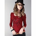 Moonbasa® 2011 Newest Europe Vintage Style Puff Sleeve Women T-Shirt
