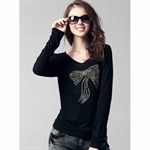 Moonbasa® Personality Panel Pressing Long-Sleeve Women T-Shirts
