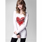 Moonbasa® Concise Soft Heart Printing Long Sleeve Women T-Shirts