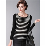 Moonbasa® Vogue Embroidery Decorative Stripe Mix-Color Knit Women T-Shirts