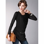 Moonbasa® Vogue Elegant Chiffon Knit Women T-Shirts