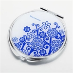 HOLI® Chinoiserie Porcelain Flower Round Mirror Cosmetic Mirror Compact Mirror, Gift Idea, Gift Box Included