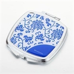 HOLI® Chinoiserie Porcelain Flower Square Mirror Cosmetic Mirror Compact Mirror, Gift Idea, Gift Box Included