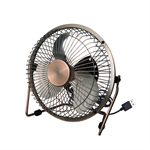 VENI MASEE 6-Inch Bronze USB Fan 4 Aluminum Blades Mini Fan Office Laptop Heat Dissipation