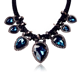 Women Crystal Resin Beaded Metal Filigree Y Bib Statement Choker Necklace Jewelry,Gift Ideas