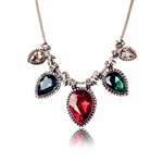 Women Shiny Rhinestone Inlay Golden Alloy Adjustable Layered All-Match Bib Statement Necklace,Gift Ideas