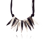 Women Retro Style Spike Rivet Metal Golden Tone All-Match Bib Statement Necklace