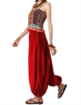 H:oter Folk Pure Color Leisure Bloomers 2 In 1 Pants Jumpsuits