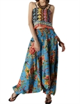 H:oter Folk Style Floral Printing 2 In 1 Pants Jumpsuit