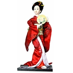 Figurinez Japanese Geisha In Red Kimono With Sandalwood Fans, Figurines, Homemade Ornaments, Christmas Gift, Price/Piece