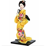 Figurinez Japanese Geisha In Yellow Kimono With A Small Tambourine , Figurines, Homemade Ornaments, Christmas Gift, Price/Piece
