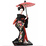Figurinez Japanese Geisha In Black Kimono With Parasol, Figurines, Homemade Ornaments, Christmas Gift, Price/Piece