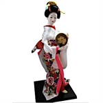Figurinez Japanese Geisha In White Kimono With Brown Fan, Figurines, Homemade Ornaments, Christmas Gift, Price/Piece