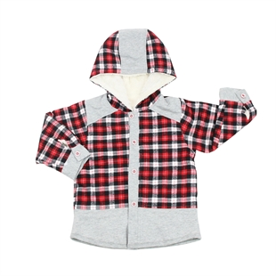 OWF Super Soft Infant Boys Plaid Button Up Shirt/T-shirt/Hoodies Coat Polar Fleece Lined