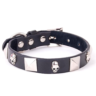 PuppyDog Personalized Black Leather Dog Collar, Classical Style, Pet Supplies, Christmas Gift, Price/Piece