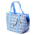 Hoter® Classic Checked Design Pet Carrier Bag--Blue/Pink, 43 * 23 * 25cm