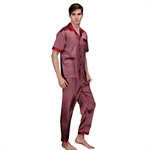 VENI MASEE® Men's High-grade Silk Pajamas Summer Spring Home Short Sleeve Pajamas, Price/Set