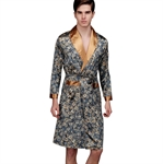 VENI MASEE® Men's High-grade Silk Pajamas Dragon Printing Summer Spring Night Gown, Price/Set