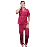 VENI MASEE® Lover's High-grade Silk Pajamas Summer Spring Home Short Sleeve Pajamas, Red, Price/Set