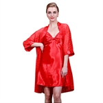 VENI MASEE® Women's High-grade Silk Pajamas Summer Spring Night Gown, Price/Set