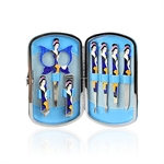 H:oter Cute Cartoon Chinese Beauty 7 Pcs Nail care Personal Manicure & Pedicure Set, Travel & Grooming Kit, Christmas Gift--4 Colors