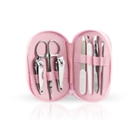 H:oter 7 Pcs Vogue Nail Care Personal Manicure & Pedicure Set, Travel & Grooming Kit, Pink Case