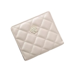 VENI MASEE Card Wallet Women Pocket Bifold Leather Quilted Lattice Camellia Square Card Holder Money Wallet 3 Color