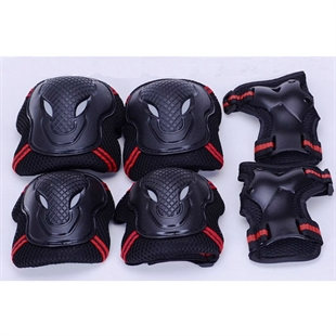 Hoter Cool Black Protective Gear Set, 2 Elbow Pads + 2 Wrist Pads + 2 Palm Pads, Six Pieces/Set, Price/Set