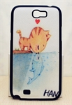 HOTER® MCASE  Cute Carton Painting Samsung Galaxy Note 2 II N7100 N7108 Protective Case - Cat Love Fish