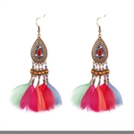 HOTER Folk Style Exaggerated Hand Made Earrings Colorful Feather/Water Drops/Bells