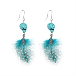 HOTER Folk Style Fashionable Hand Made Long Huge Earrings Feather