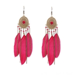 HOTER Folk Style Vintage Hand Made Earrings Rhinestone/Chain/Red Feather