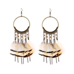 HOTER Fashionable Antique Trendsetter Long Earrings Cutout Circle/Feather/Chain