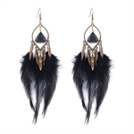 HOTER Folk Style Antique Peacock Long Brown Earrings Pendants/Feather