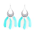 HOTER Exaggerated Cheerful Earrings Pendants Oil Dripping/Feather/Light Blue and Matching Colors