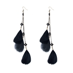 HOTER Original Antique Refined Long Earrings Pendants Black/Feather/Ear Hook/Clamp