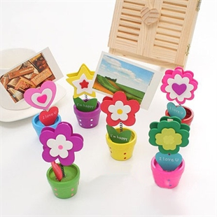 Sweet Girl Style Woody Flowerpot, Desk Message Clip/Memo Clip/Wood Clamp