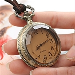 HOTER® Vintage Large Circle Mirror Pocket Watch Necklace Coat Chain