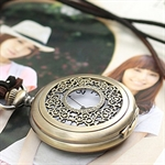 HOTER® Vintage Circle Mirror Pocket Watch Necklace Coat Chain
