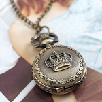 HOTER® Vintage Crown Pocket Watch Necklace Coat Chain