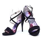 Veni Masee® Ladies Womens Elegant Floral Printing High Heel Evening Party High Heeled Suede Sandal High Heel Office Shoes