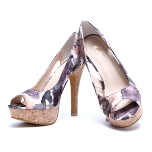 Veni Masee® Womens Ladies Floral Printing Platform High Heel Work Shoes