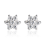 VENI MASEE® Cubic Zirconia Snow Flake Stud Earrings, Bling Jewelry, Fashion And Sophisticated, Gift Ideas